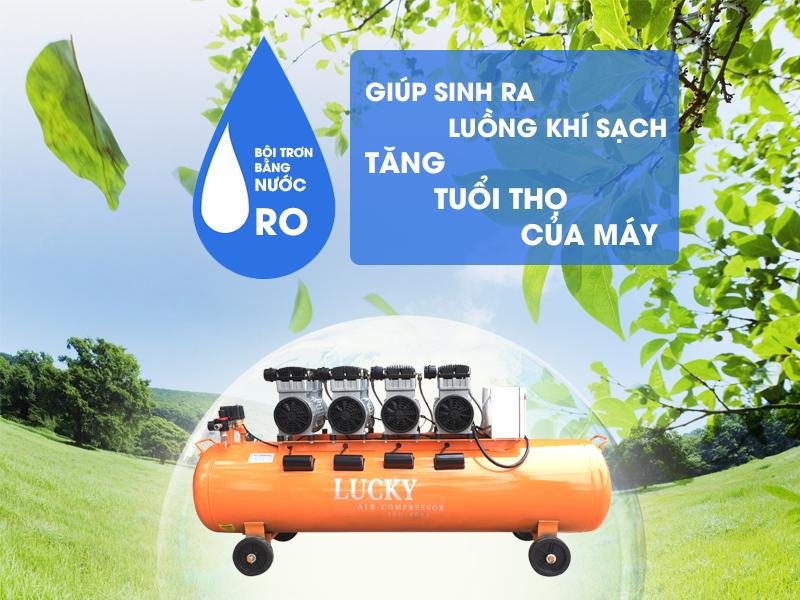 Máy nén khí không dầu 180L 4Hp Lucky bình chứa lớn nhất