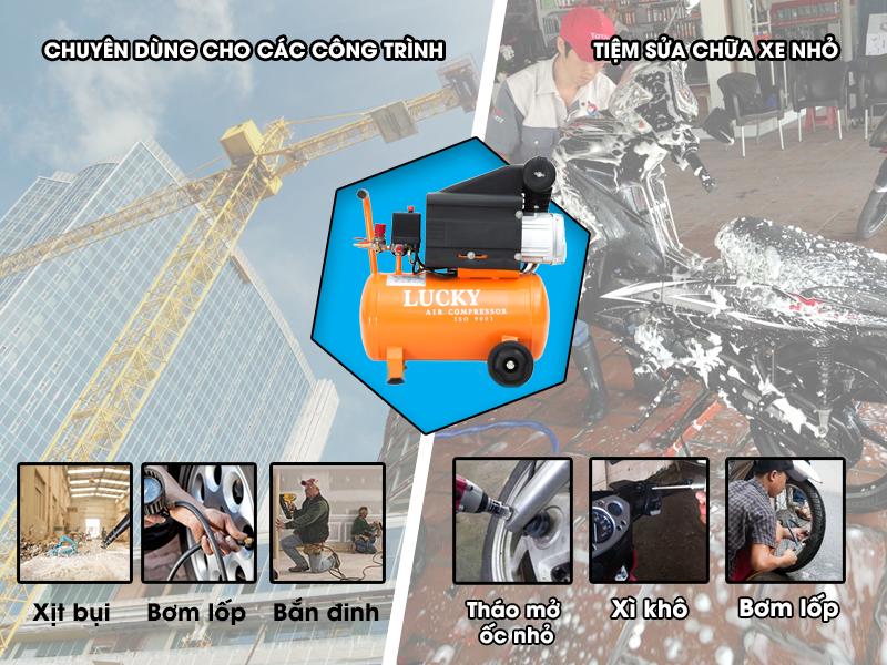 Máy  nén khí mini Lucky đa dạng công năng sử dụng
