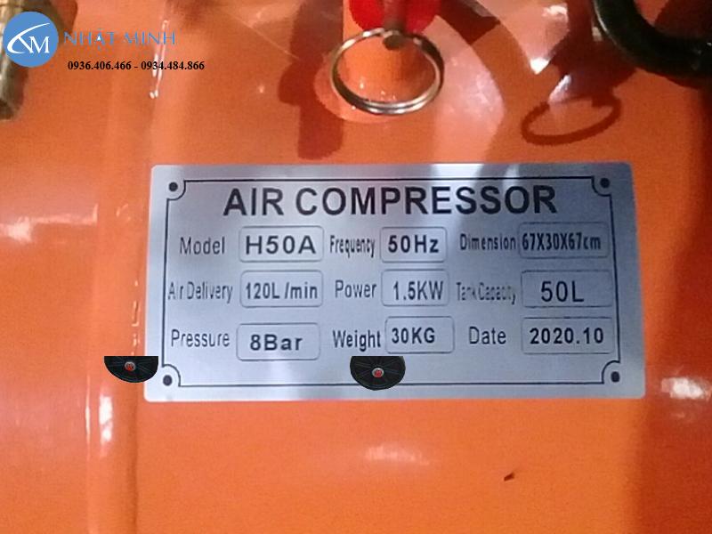 Máy nén khí đầu liền 50 lít 2hp Lucky H50a thông số phân khúc tầm trung